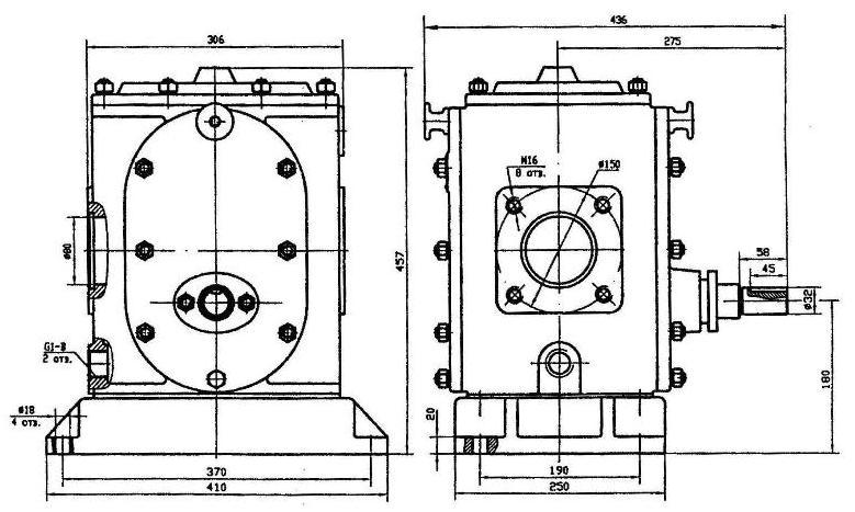 Габаритные и присоединительные размеры ДС-125