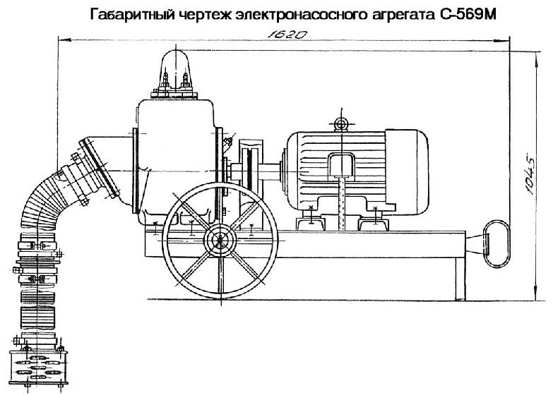 Габаритные чертеж насоса С-569М